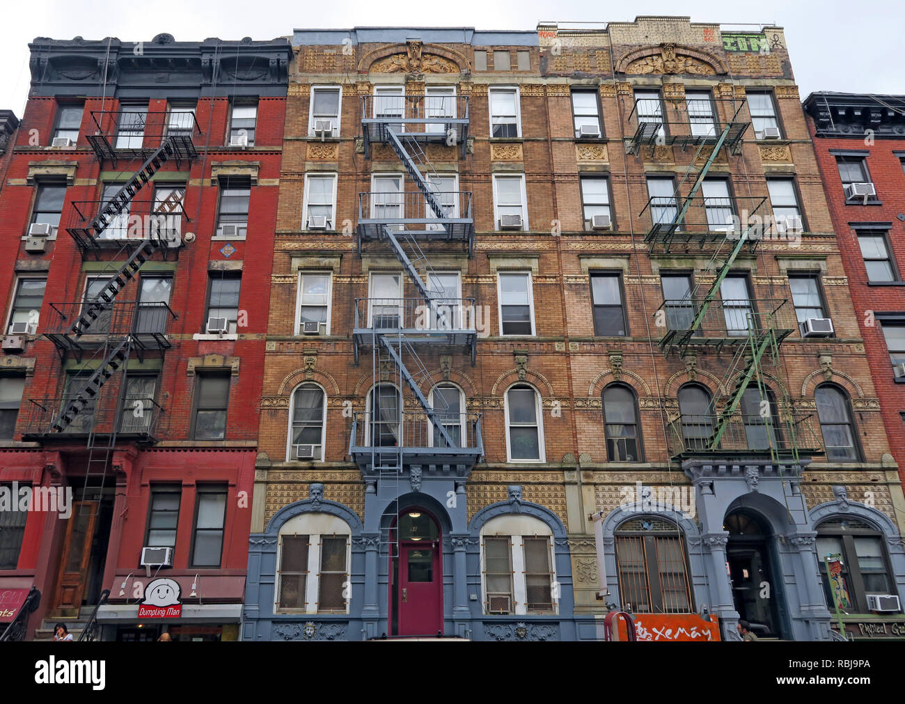Tenements at St Marks Place, East Village, Manhatten, New York City, used in Led Zeppelin Physical Graffiti album - Stock Image