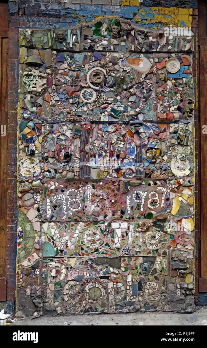 Saint Marks Place Mosaic Trail, East Village, New York city, NYC, NY, USA - Stock Image