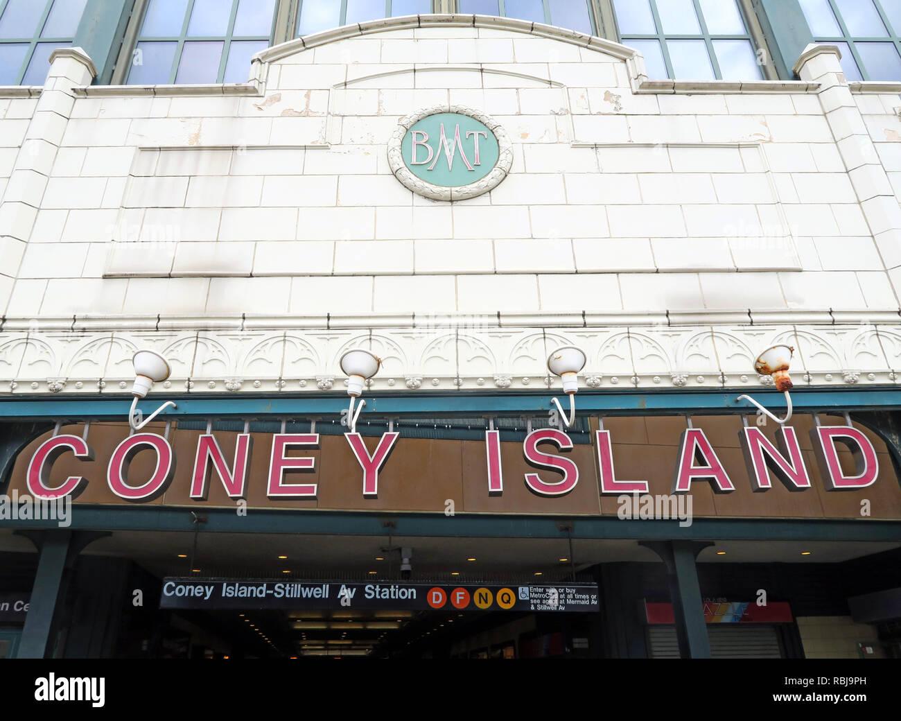 Coney Island BMT subway station, Stillwell Avenue, Brooklyn, NYC, NY, USA - Stock Image