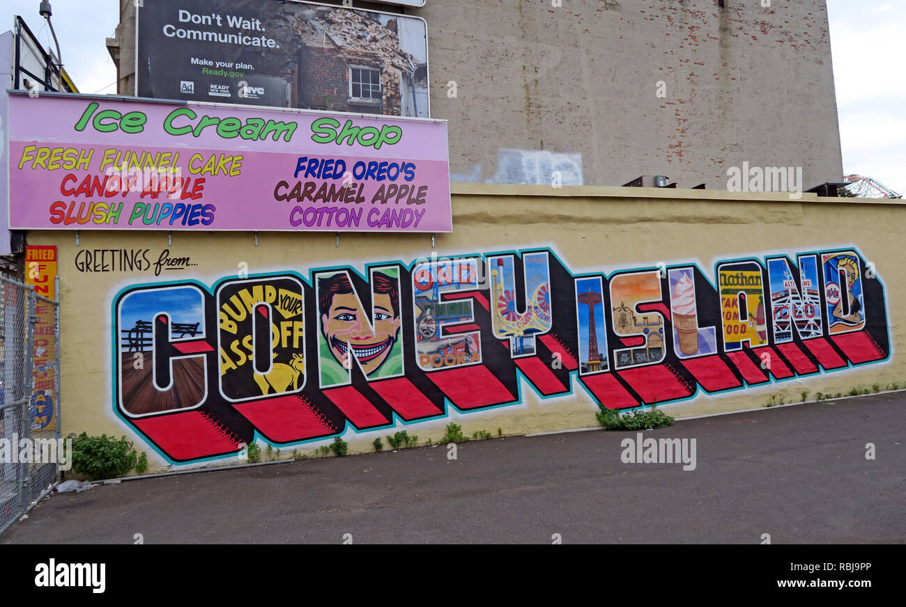 Greetings From Coney Island, spelled in letters, Brooklyn, New York, NYC , NY, USA - Stock Image