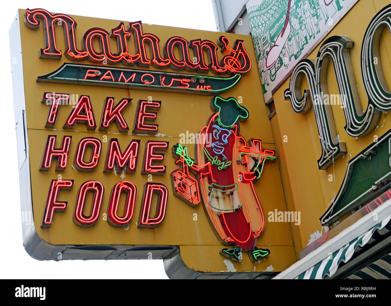 Nathans Handwerker Famous Hotdog Frankfurters Original Restaurant, Deli, Fast Food, Coney Island, Borough of Brooklyn, New York, NY, USA - Stock Image