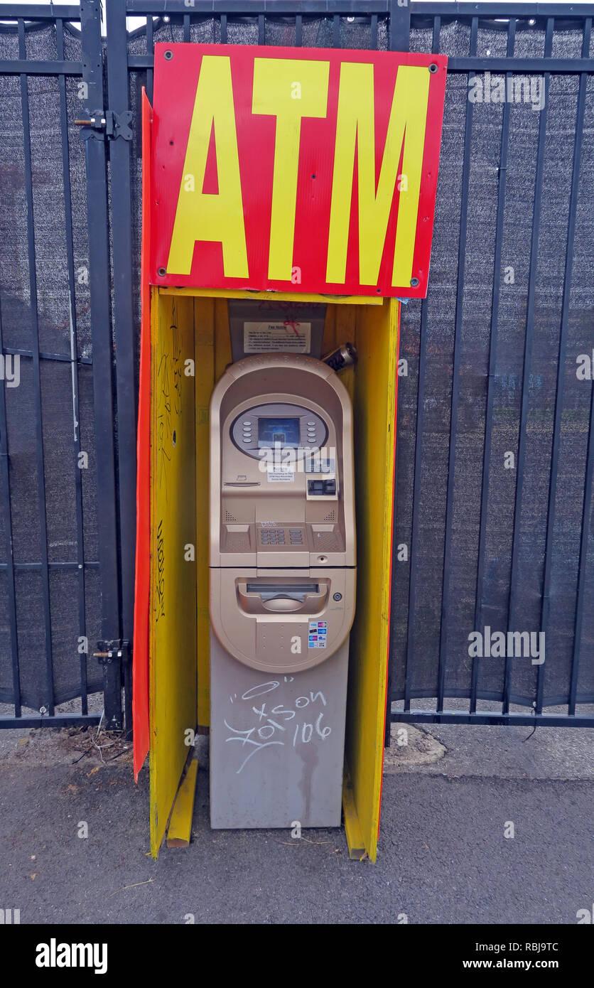 Standalone ATM machine, Cash Machine, Coney Island, Brooklyn, New York, NYC, NY, USA - Stock Image