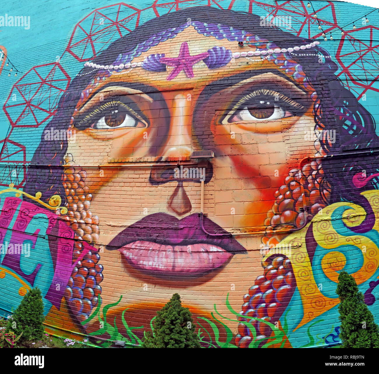 Coney Island woman painting on wall, Brooklyn, New York City, NY, USA - Stock Image