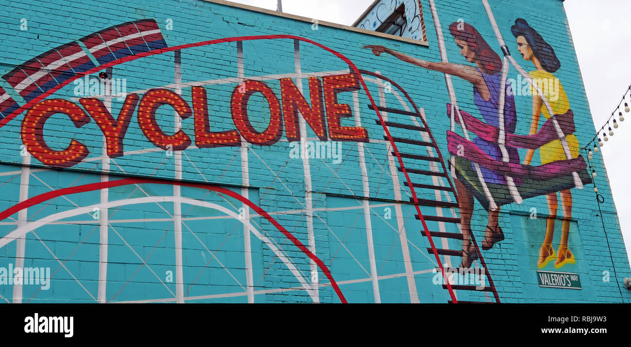 Coney Island Cyclone ride mural, Brooklyn, New york, NY, USA - Stock Image