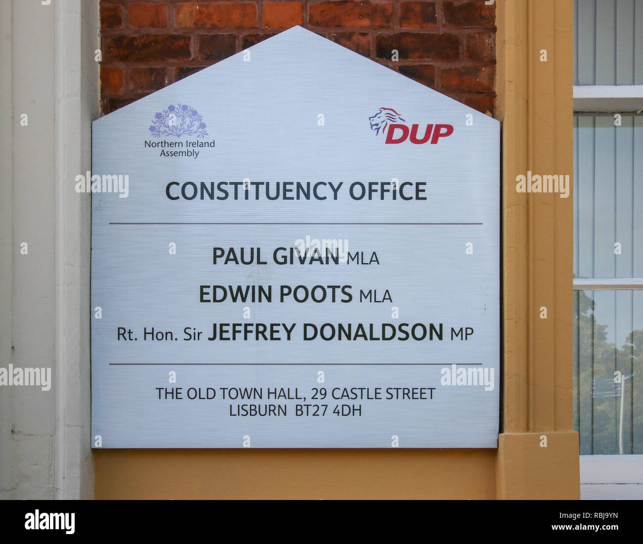Political Information sign Northern Ireland. Sign outside DUP constituency office in Lisburn, Northern Ireland. - Stock Image