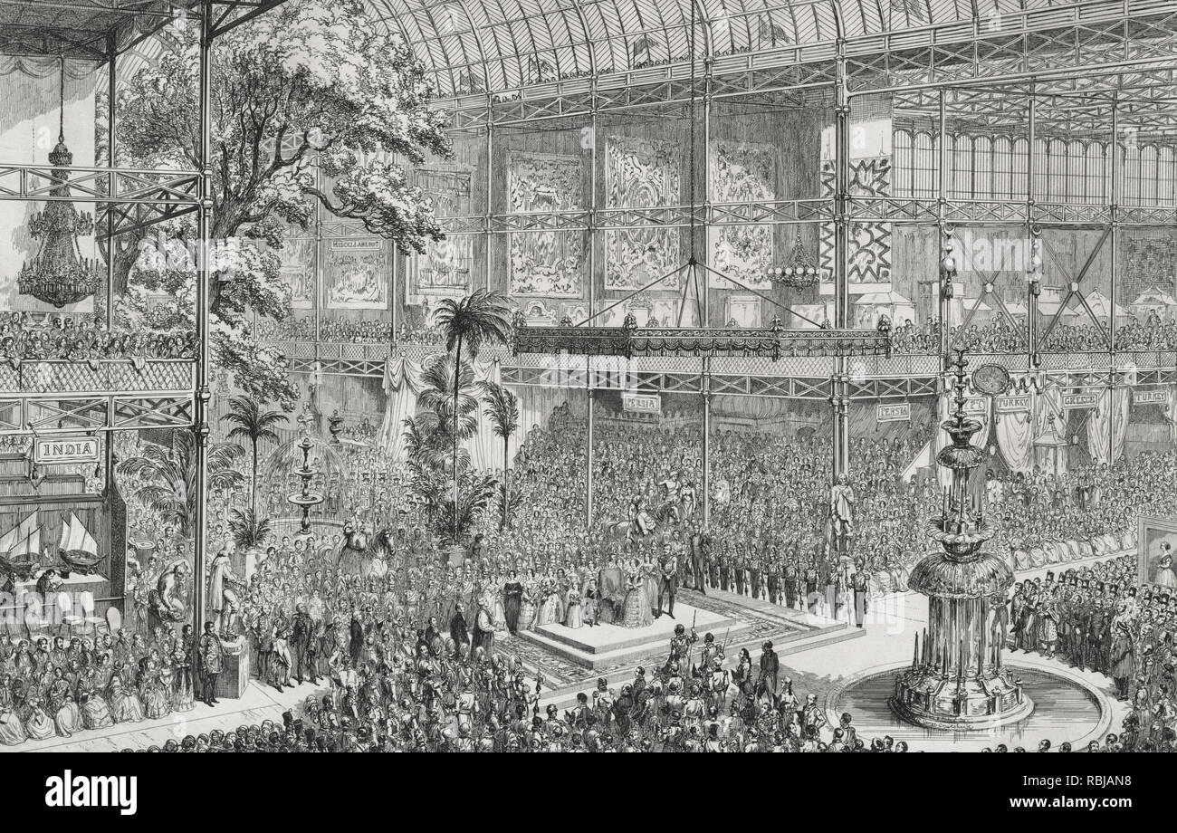 Opening of the Great Industrial Exhibition of all nations, by her most gracious majesty Queen Victoria and his royal highness Prince Albert, on the 1st of May, 1851 - 	Print shows an interior view of the Crystal Palace during the Great Industrial Exhibition, with Queen Victoria and the royal family at center, the Archbishop to the left, and many spectators gathered in the wings of the gallery. - Stock Image