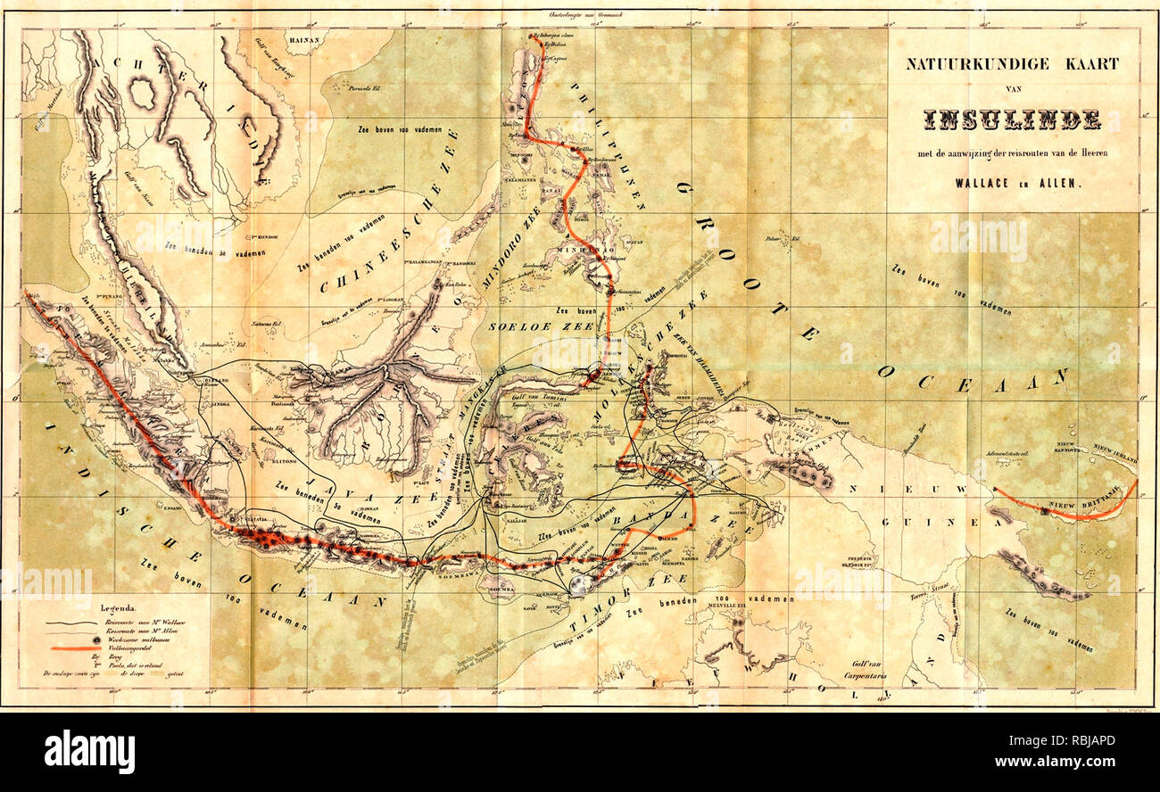 Map of the Malay Archipelago showing Wallace's travels, circa 1870 - Stock Image