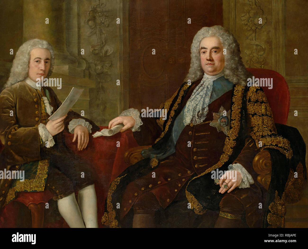 Portrait of Robert Walpole, 1st Earl of Orford, British prime minister (1676-1745) and Portrait of Henry Bilson Legge, British politician (1708-1764) - Stephen Slaughter - Stock Image