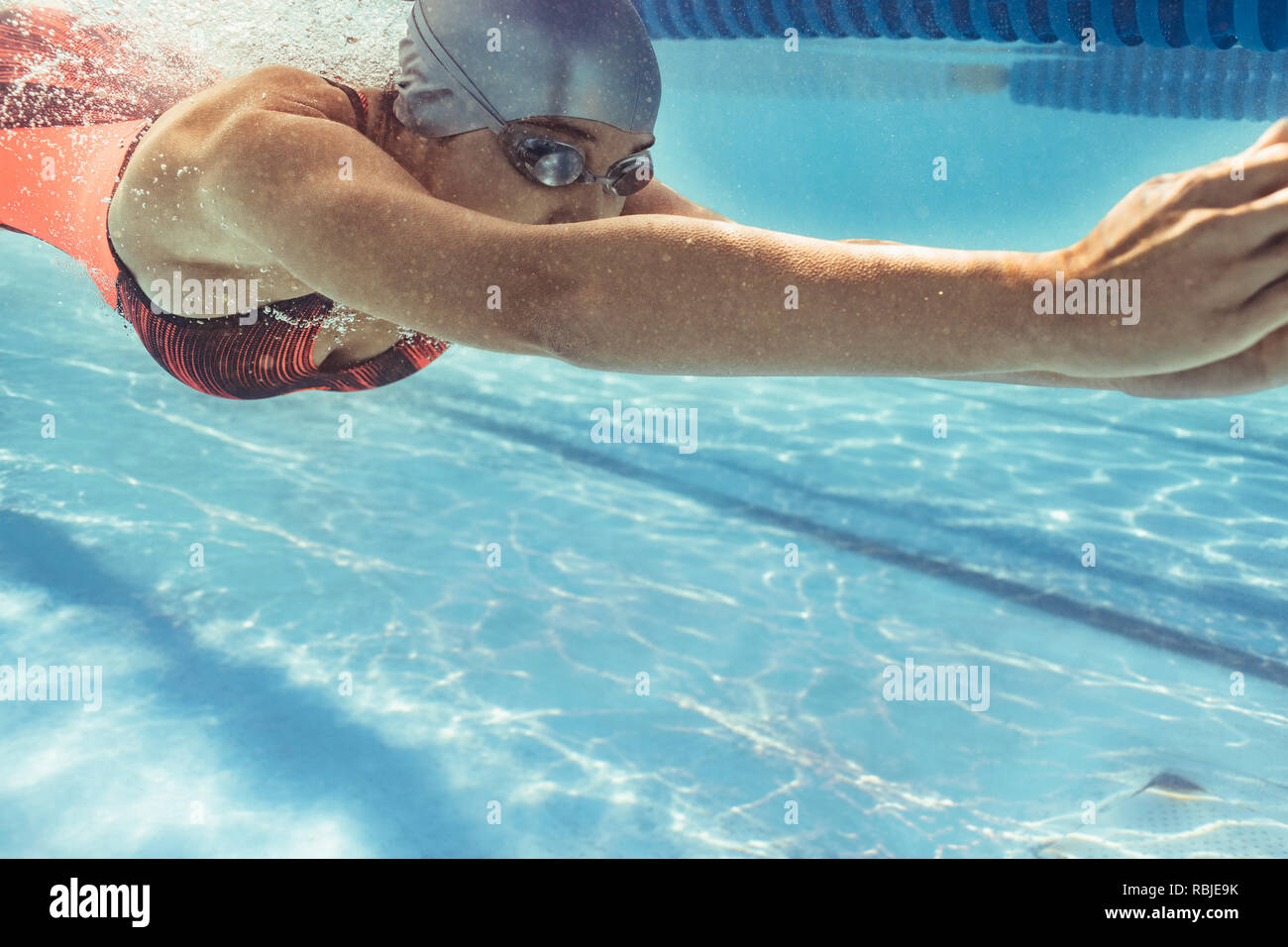 Underwater shot of female swimmer swimming in pool. Young woman swimming in a sport pool. Stock Photo