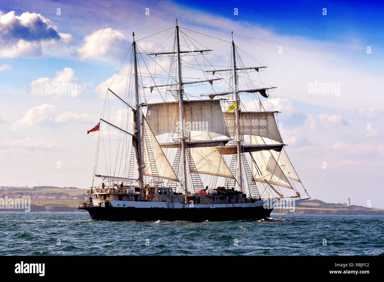 Sunderland's Tall Ships Race July 2018 vessels congregated in the River Wear and Port of Sunderland, Northeast, UK - held annually in European waters - Stock Image