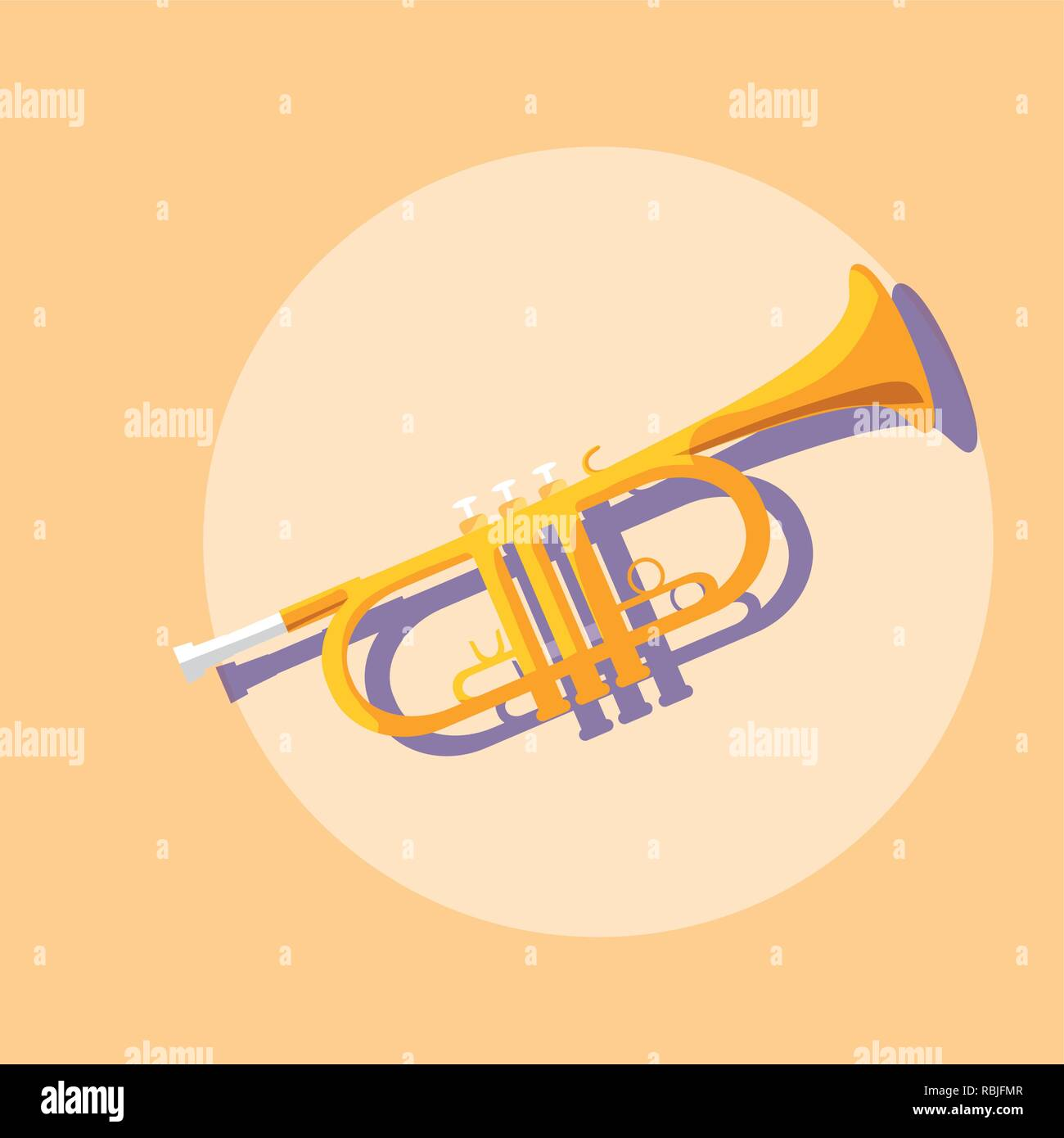 trumpet musical instrument icon vector illustration design - Stock Vector