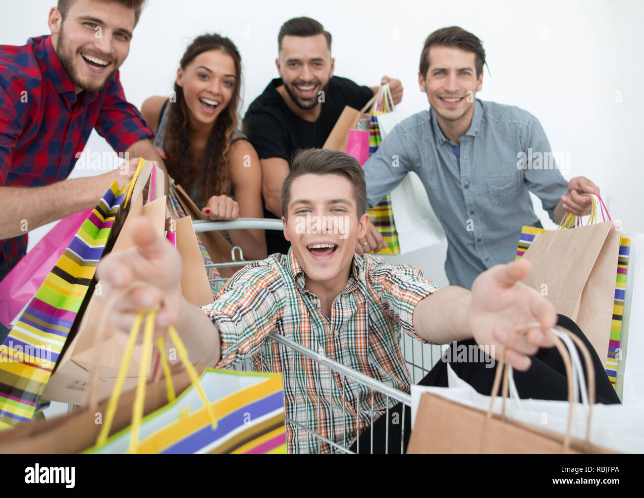 close up.happy group of friends shopping - Stock Image