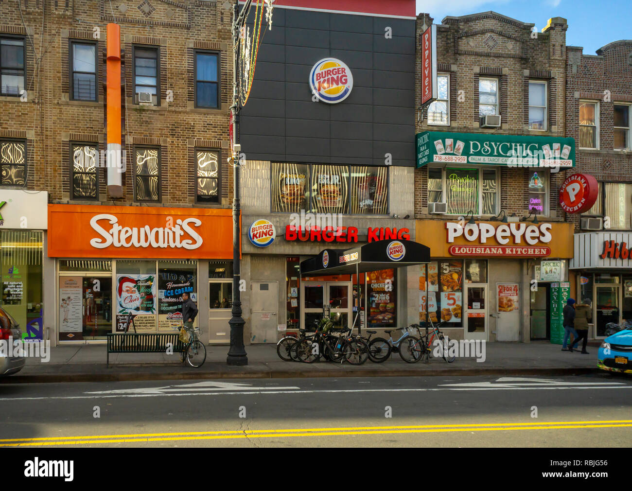 A Line Up Of Fast Food Restaurants In The Bay Ridge
