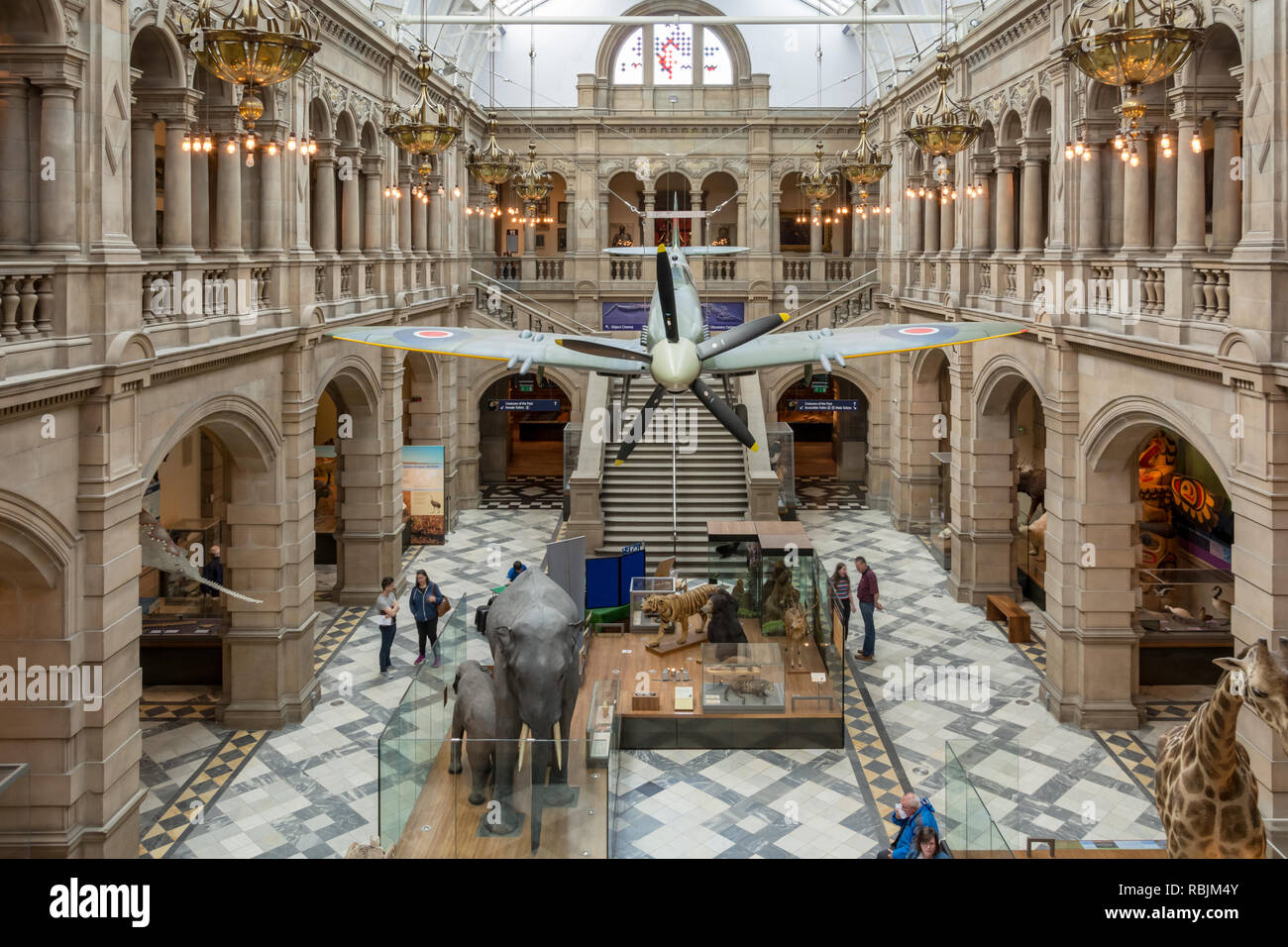 Glasgow, Scotland - May 19, 2018: Central view of Spitfire hall in Kelvingrove Art Gallery and Museum on May 19, 2018 in Glasgow, Scotland - Stock Image