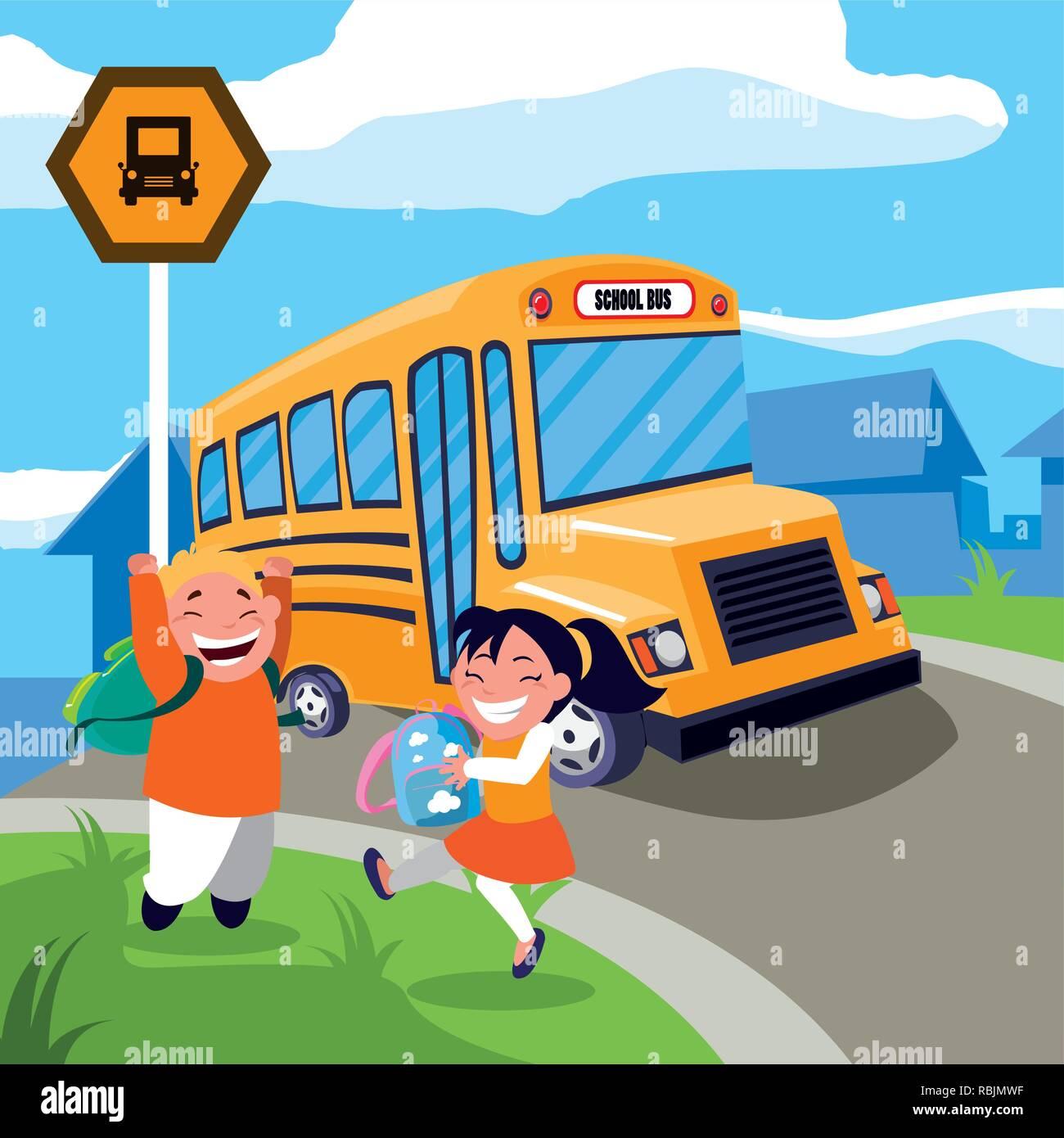 Happy Students Kids In The School Bus Stop Scene Vector