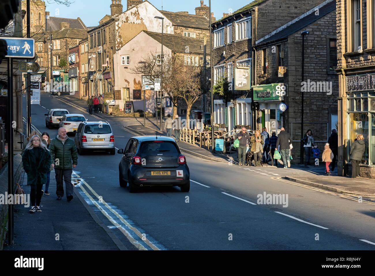 High Street, Uppermill, Lancashire, England UK. - Stock Image