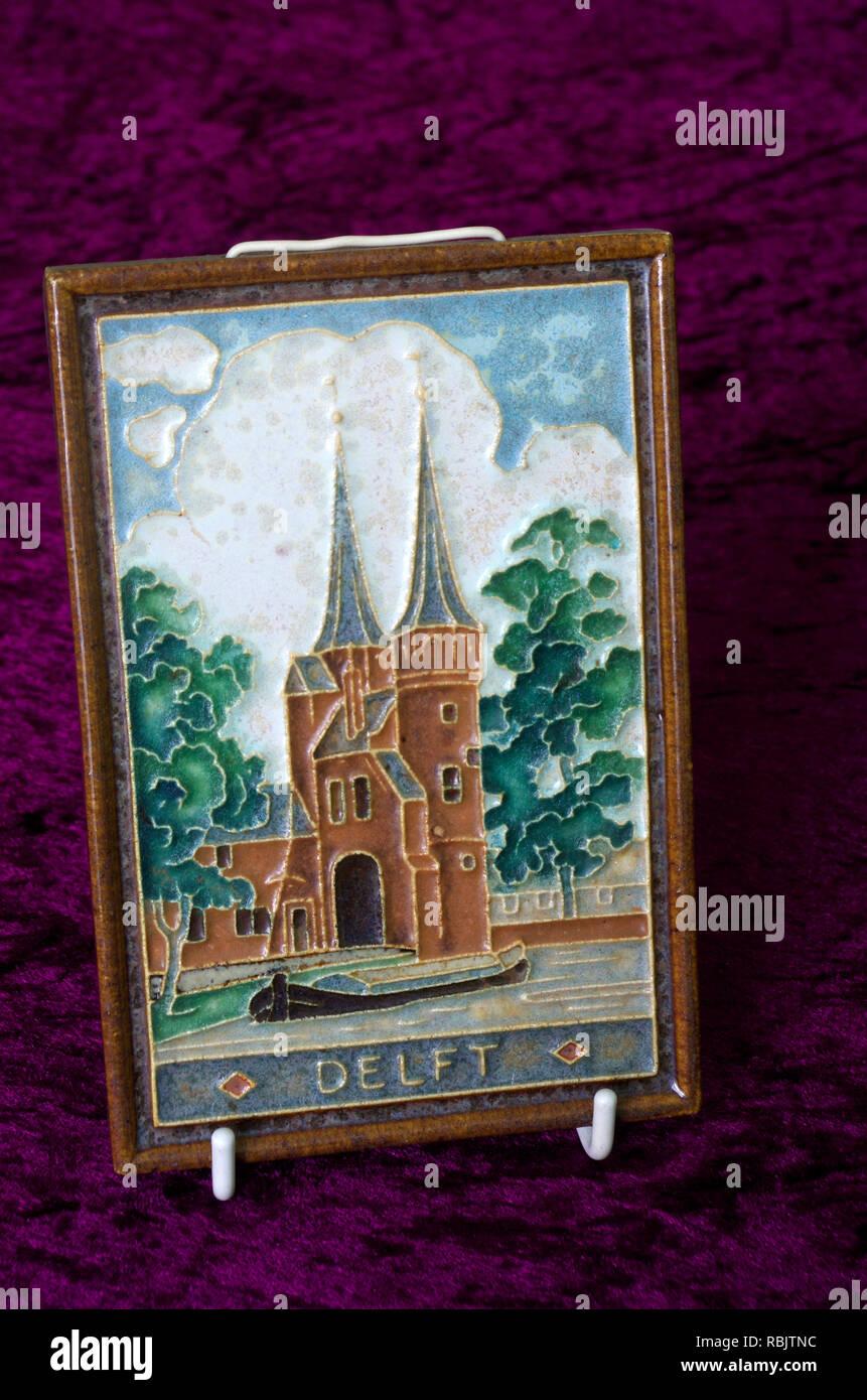 Dutch Delft Ware Pottery Plaque or Tile, Netherlands - Stock Image