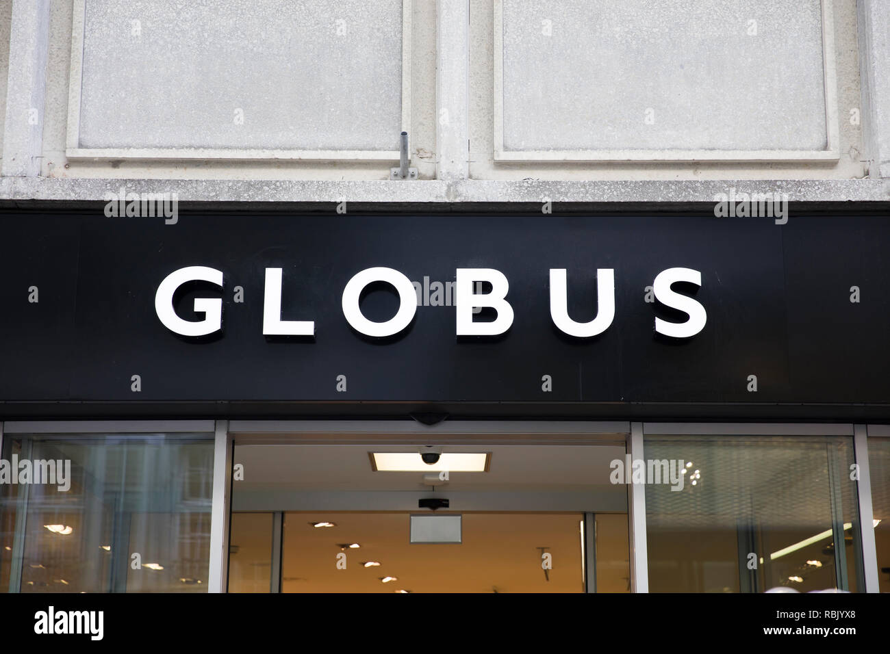 BASEL, SWITZERLAND - SEPTEMBER 24, 2018: Detail of Globus store in Basel, Switzerland. Globus is a Swiss department store company founded at 1907. - Stock Image