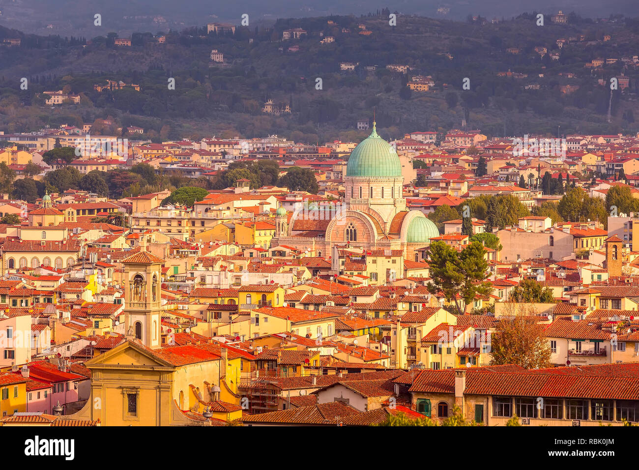 Aerial view of historical medieval buildings with Great Synagogue dome in old town of Florence, Italy Stock Photo