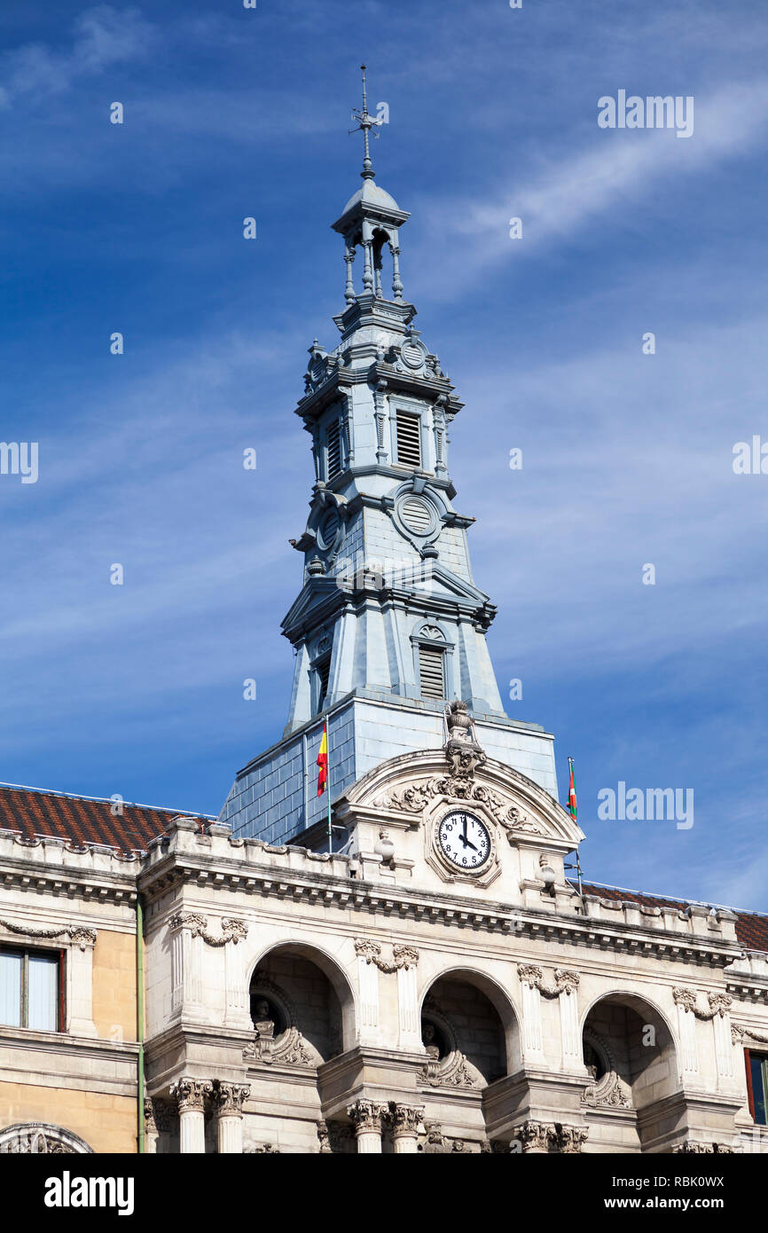 The clock tower of the town hall, Bilbao, Spain. - Stock Image