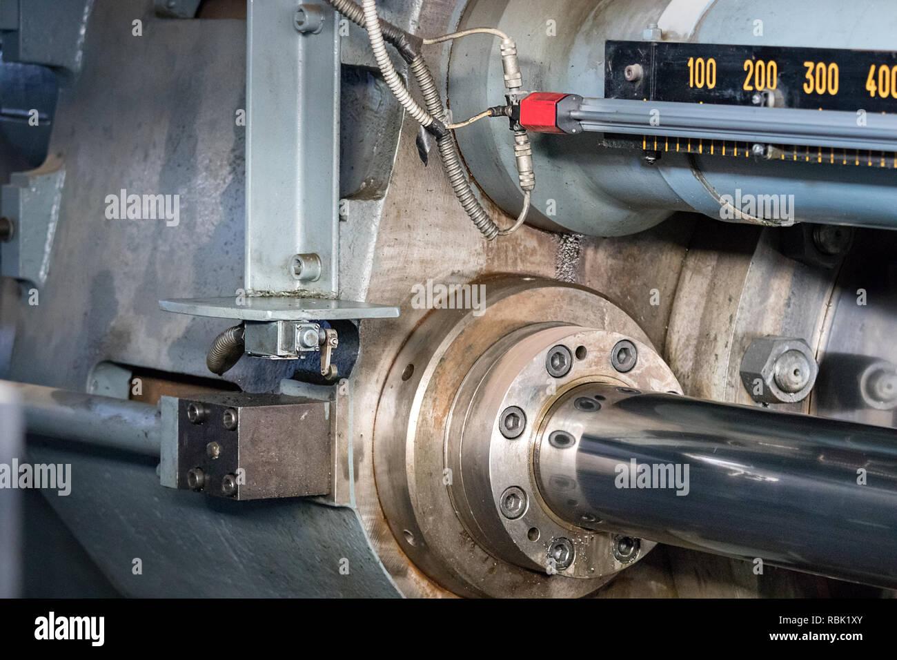 Detail of the short stroke of an aluminium extrusion press. Stock Photo