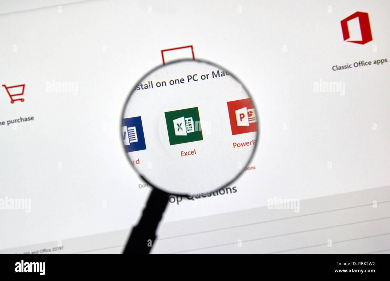 MONTREAL, CANADA - JANUARY 10, 2019: MIcrosoft Office 365