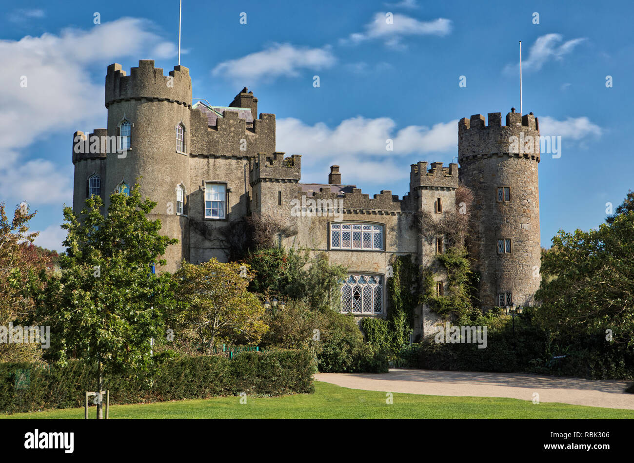 The Malahide Castle in Malahide, Ireland. - Stock Image