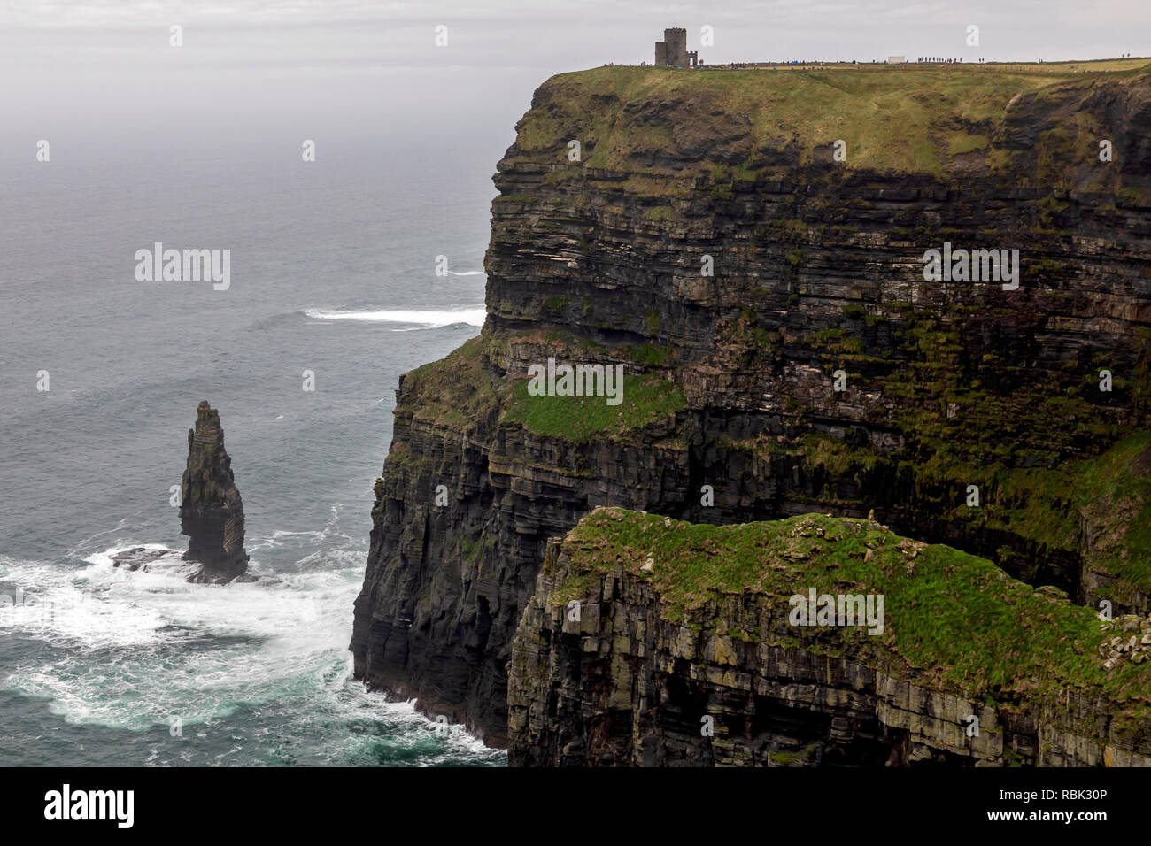 The Cliffs of Moher and O'Brien's Tower on the west coast of Ireland. - Stock Image