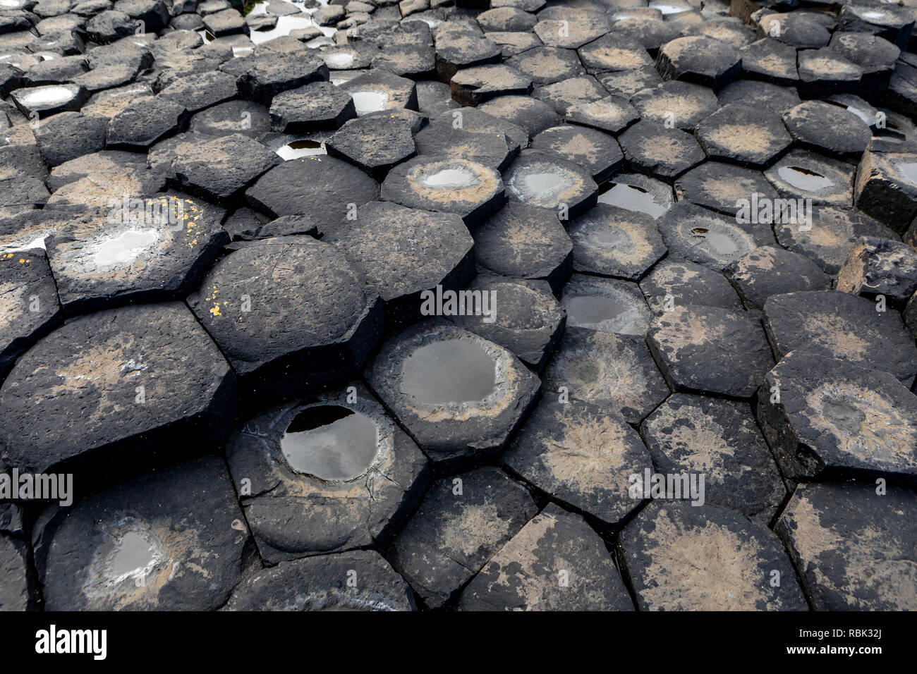 Giant's Causeway, the result of an ancient folcano eruption and listed as a  World Heritage Site, in Northern Ireland. Stock Photo