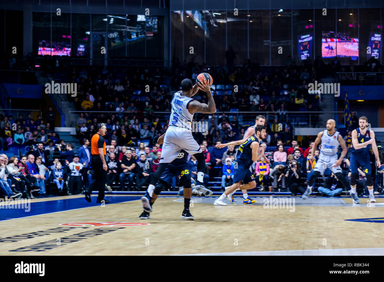 Dee Bost, #3 of Khimki Moscow seen in action against Fenerbahce Istanbul in Round 17 of the Turkish Airlines Euroleague  game of the 2018-2019 season. Khimki Moscow beat Fenerbahce Istanbul in overtime, 84-78. - Stock Image