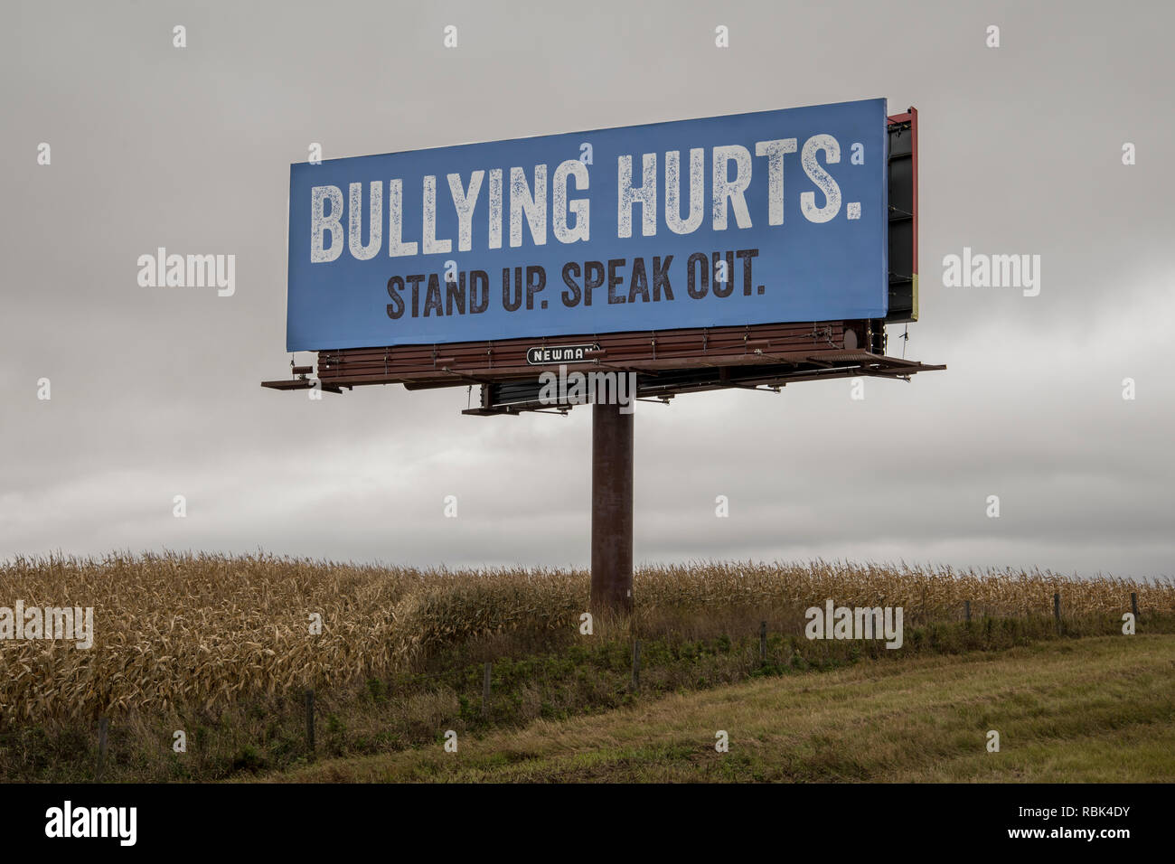 Brandon, Minnesota. Bullying hurts billboard sign. - Stock Image