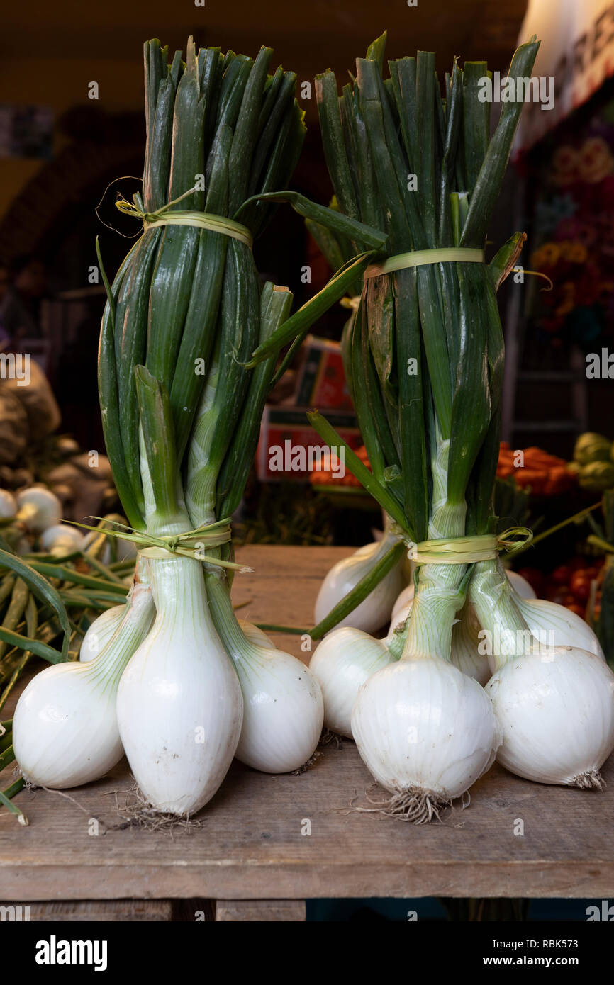 Onions for sale in a street market in Tlacolula, Oaxaca, Mexico. - Stock Image