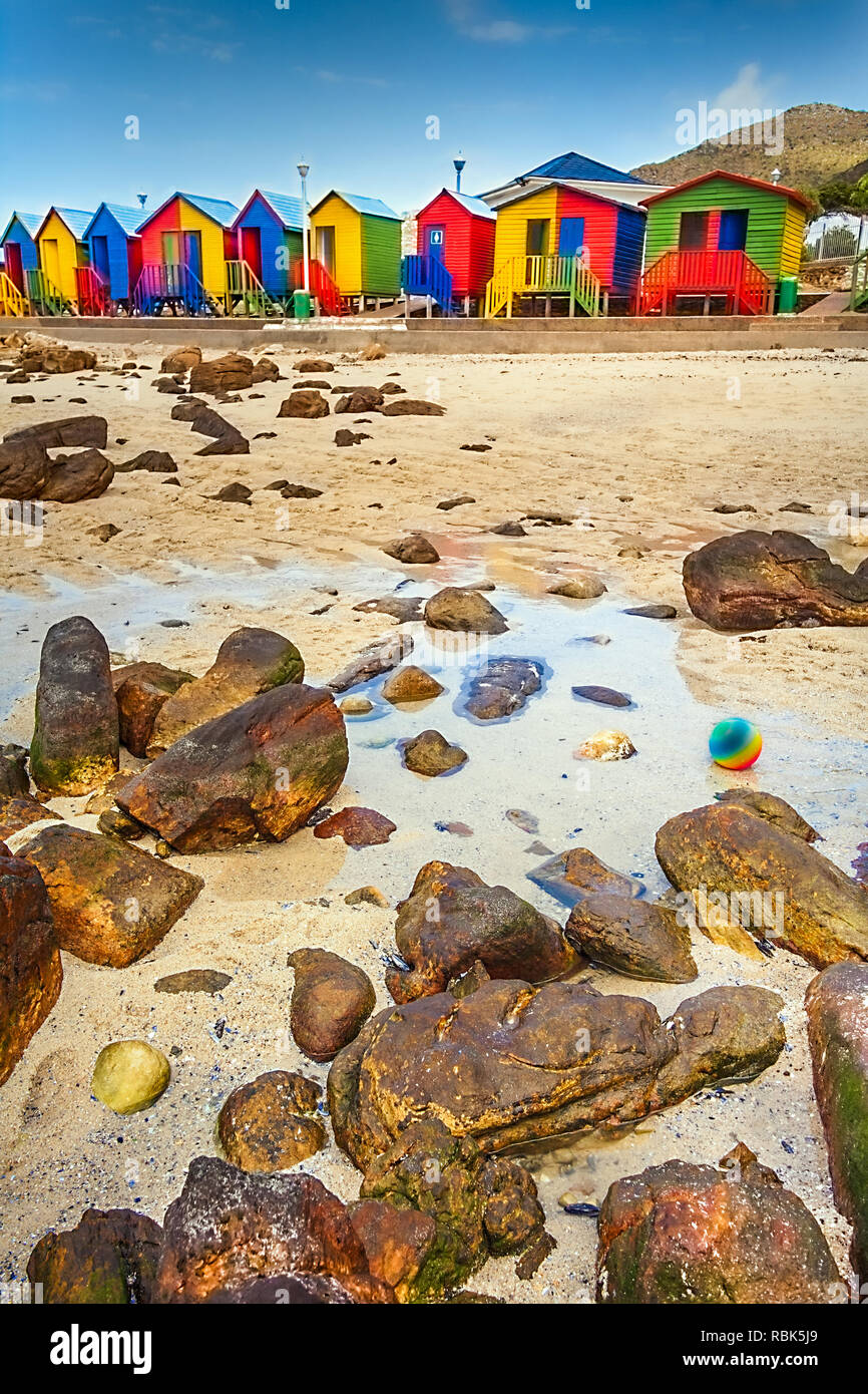 Colorful beach huts in St. James South Africa - Stock Image