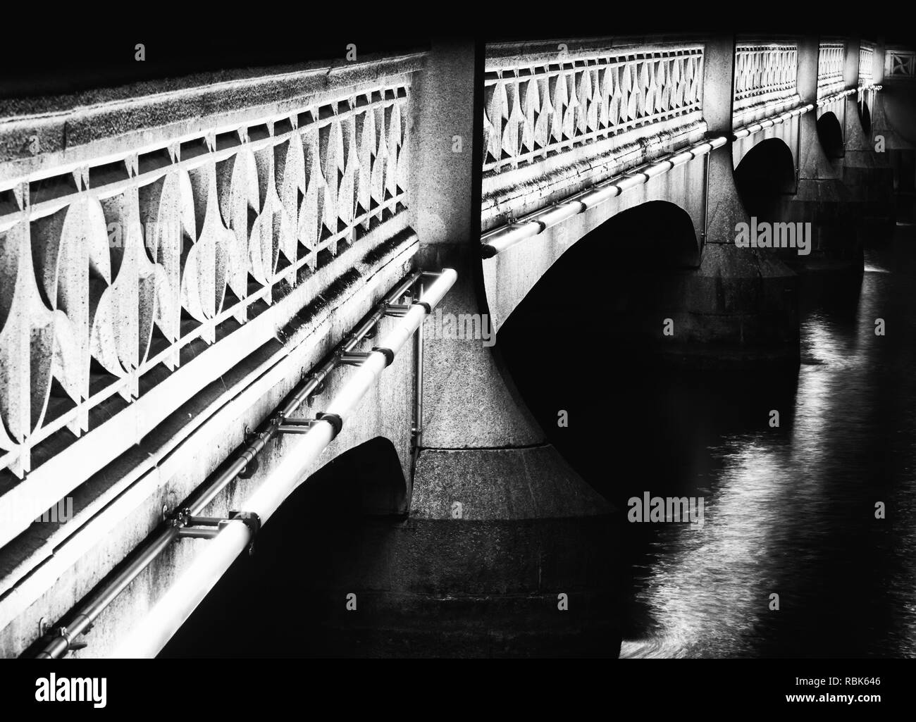 Zurich, ZH / Switzerland - January 4, 2019: nighttime view of the Rudolf-Brun bridge in downtown Zurich in winter - Stock Image