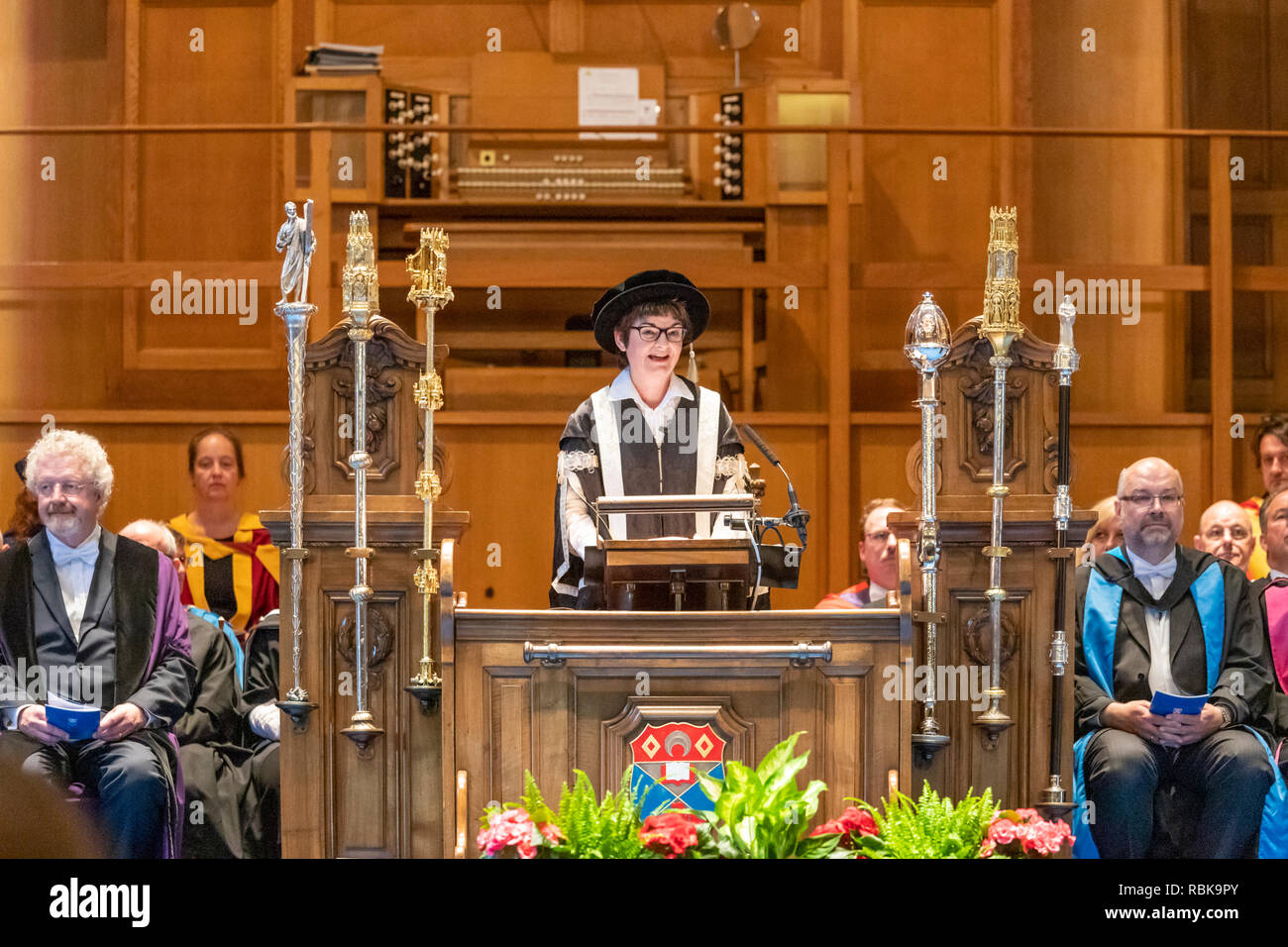 Principal and Vice-Chancellor Professor Sally Mapstone presiding over the June 2018 graduation ceremony of St Andrews University in the Younger Hall - Stock Image
