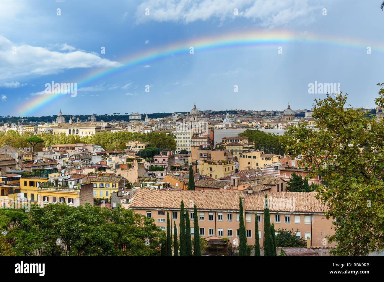 Rainbow Over Rome Arial View Of Rome City From Janiculum