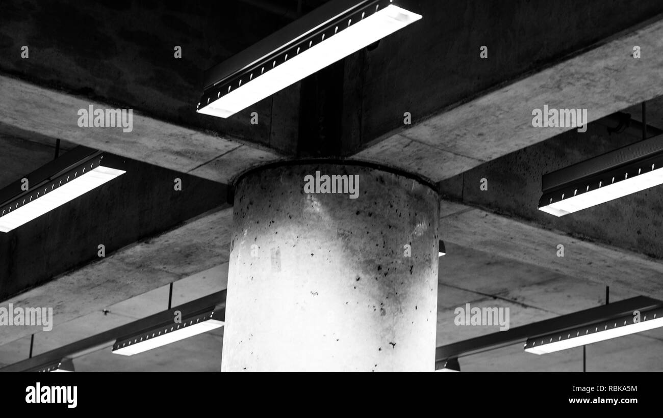 Concret beam and pillar in the Montreal subway station which is with a 1970s post modern style - Stock Image