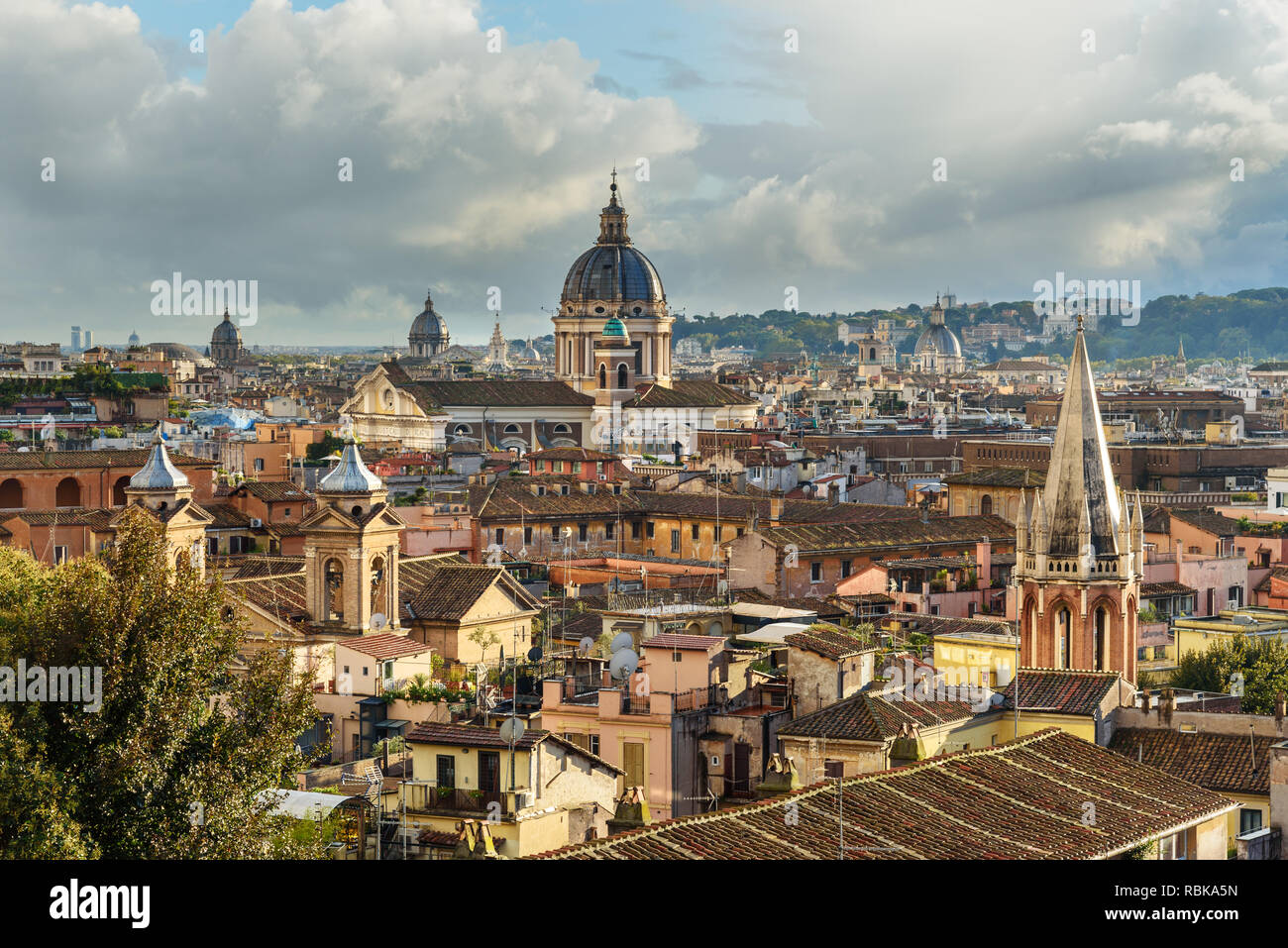 View on Rome city from Terrazza Viale del Belvedere. Italy Stock Photo