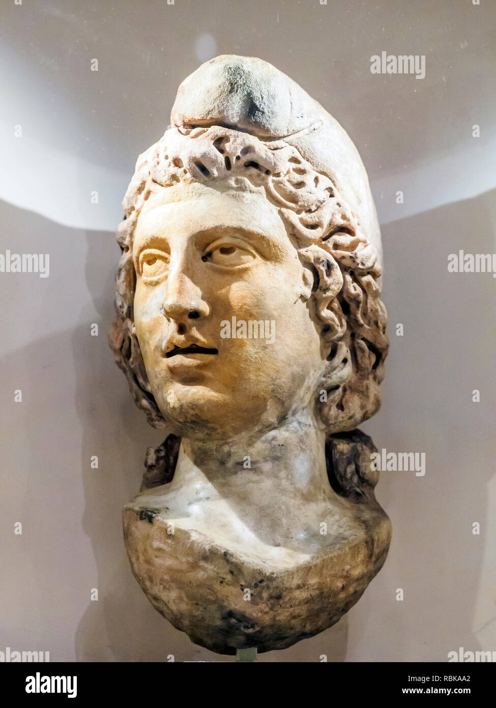 Head of Mithras Marble Late 2nd century Museum of London, England - Stock Image