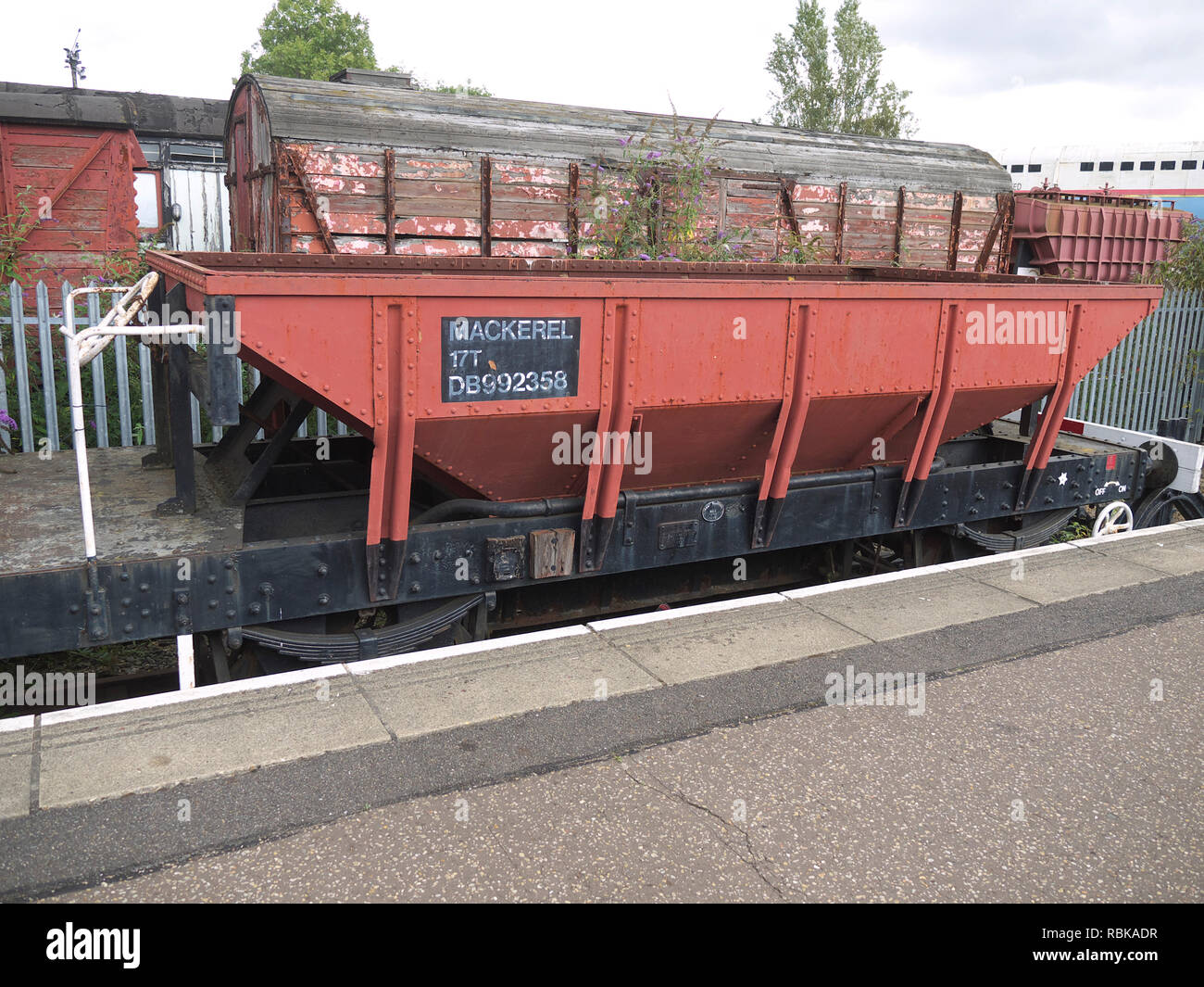 Goods wagon on display at Peterborough station on the Nene Valley Railway - Stock Image