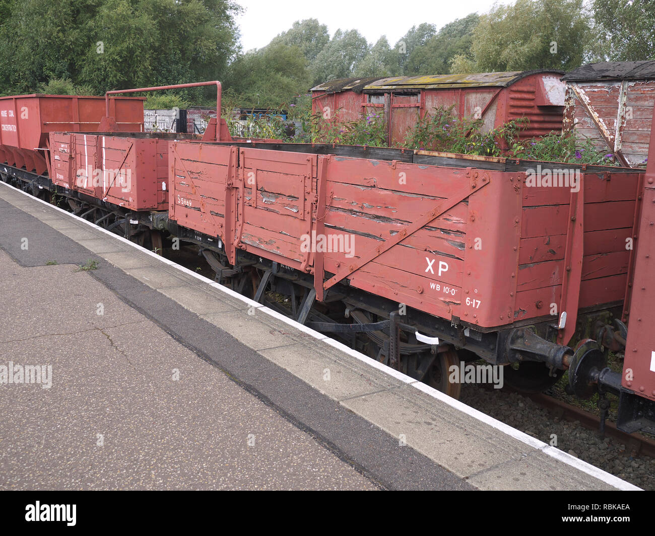 Goods wagons on display at the Nene Valley Railway - Stock Image