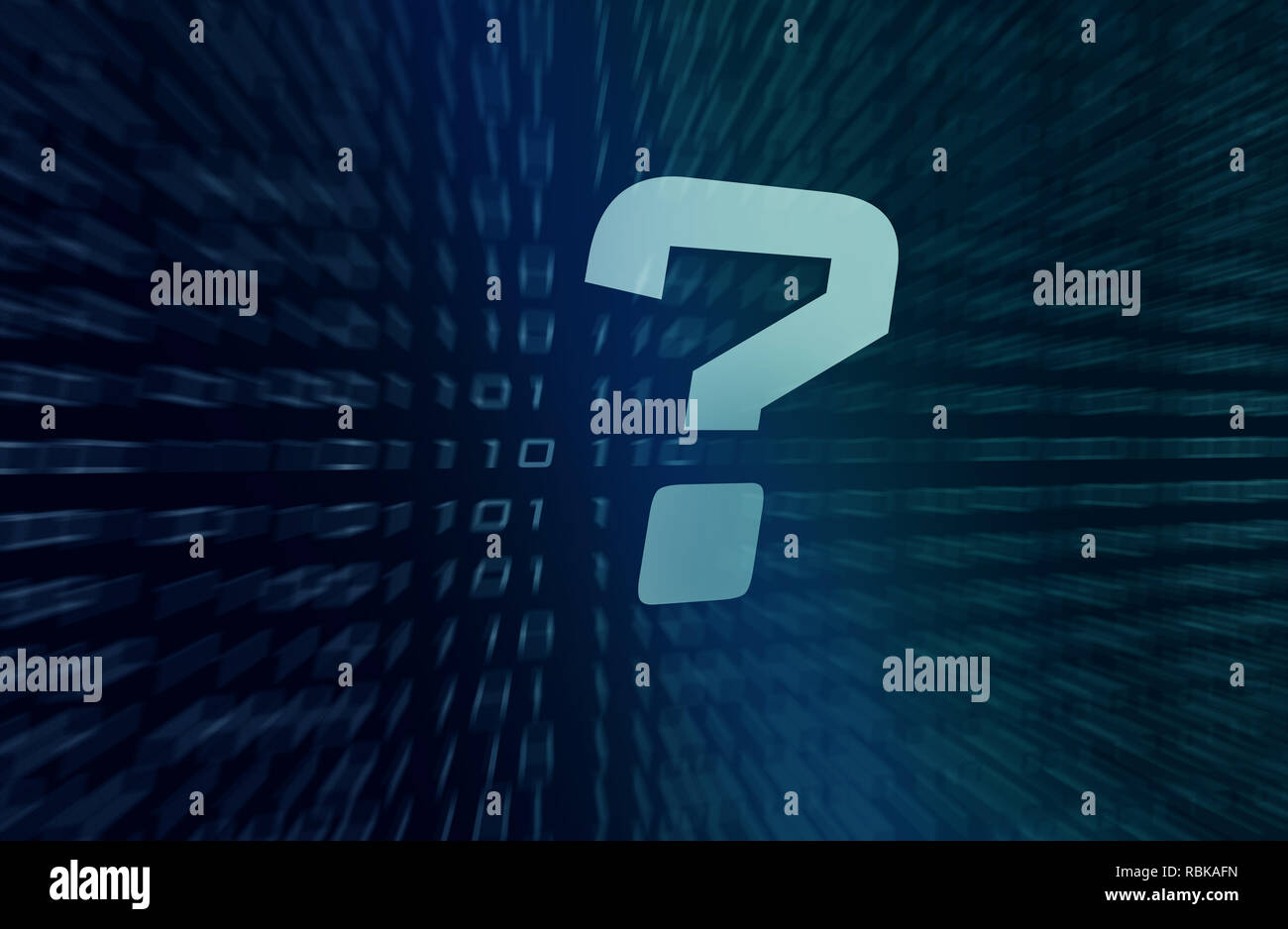 question mark symbol with binary code in background - Stock Image