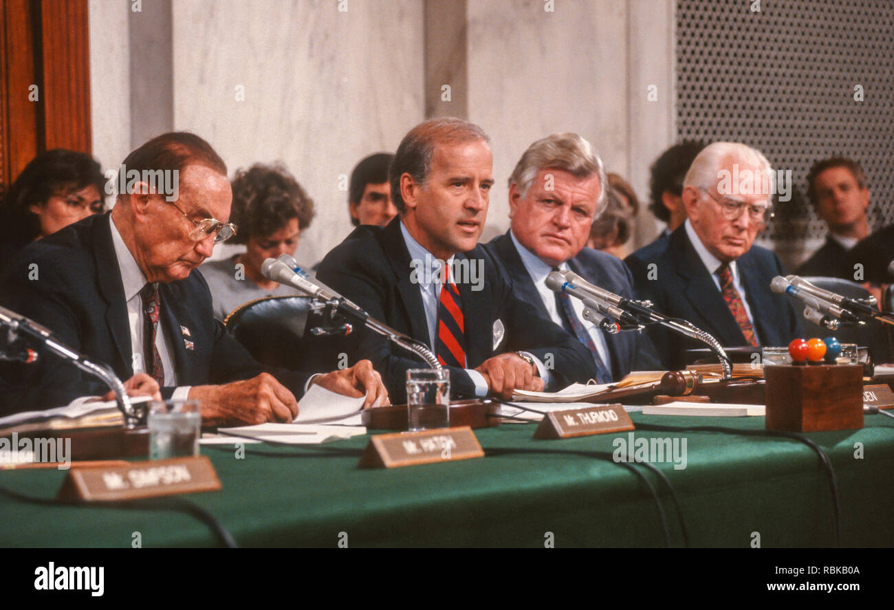 WASHINGTON, DC, USA - OCTOBER 11, 1991: U.S. Senate Judiciary Committee, during Supreme Court nominee Clarence Thomas hearing. - Stock Image