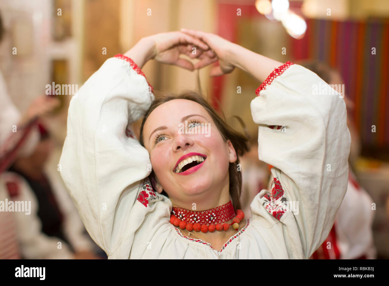 Belarus, Gomel, November 24, 2018. Reconstruction of an ethnic old Belarusian wedding.A woman is dancing in a Slavic national costume. Belarusian girl Stock Photo