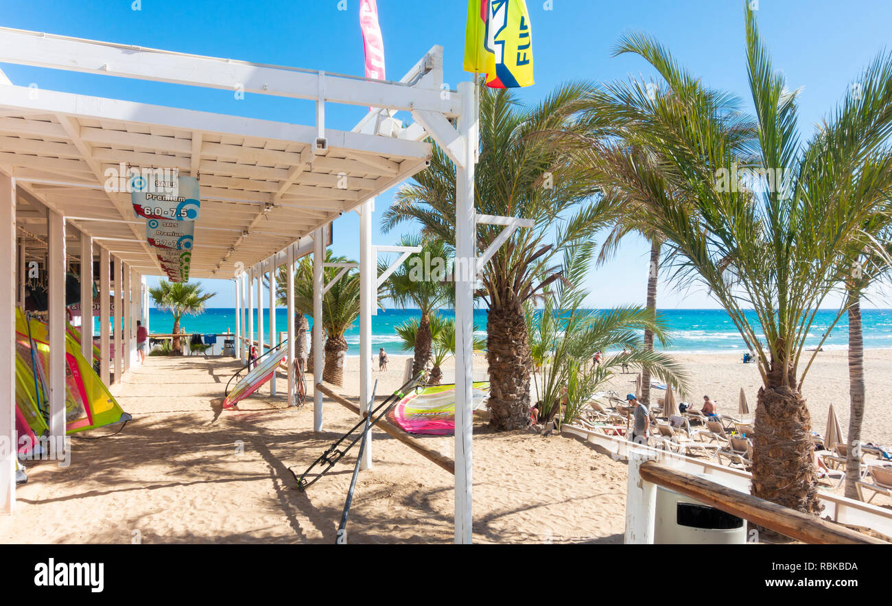 Rene Egli windsurfing centre on Sotavento beach, Fuerteventura, Canary Islands, Spain Stock Photo