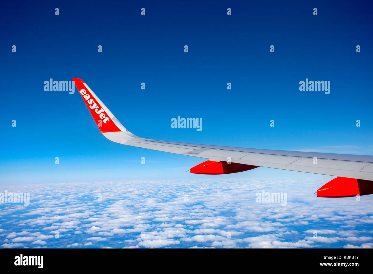 View from an Easyjet aeroplane window - Stock Image
