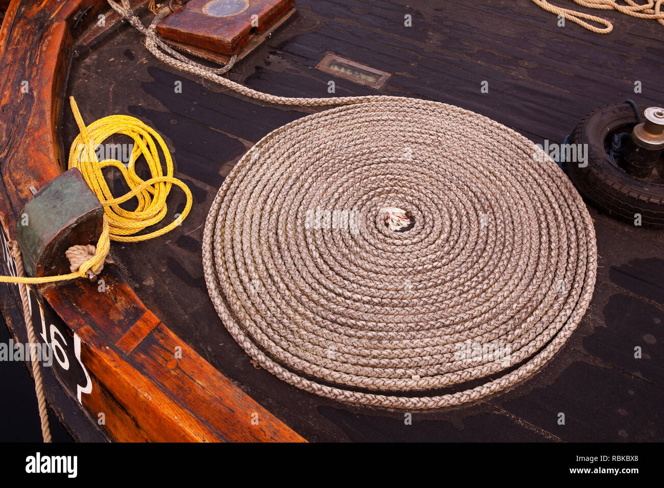 Coil of rope on a boat at Spakenburg, Netherlands - Stock Image