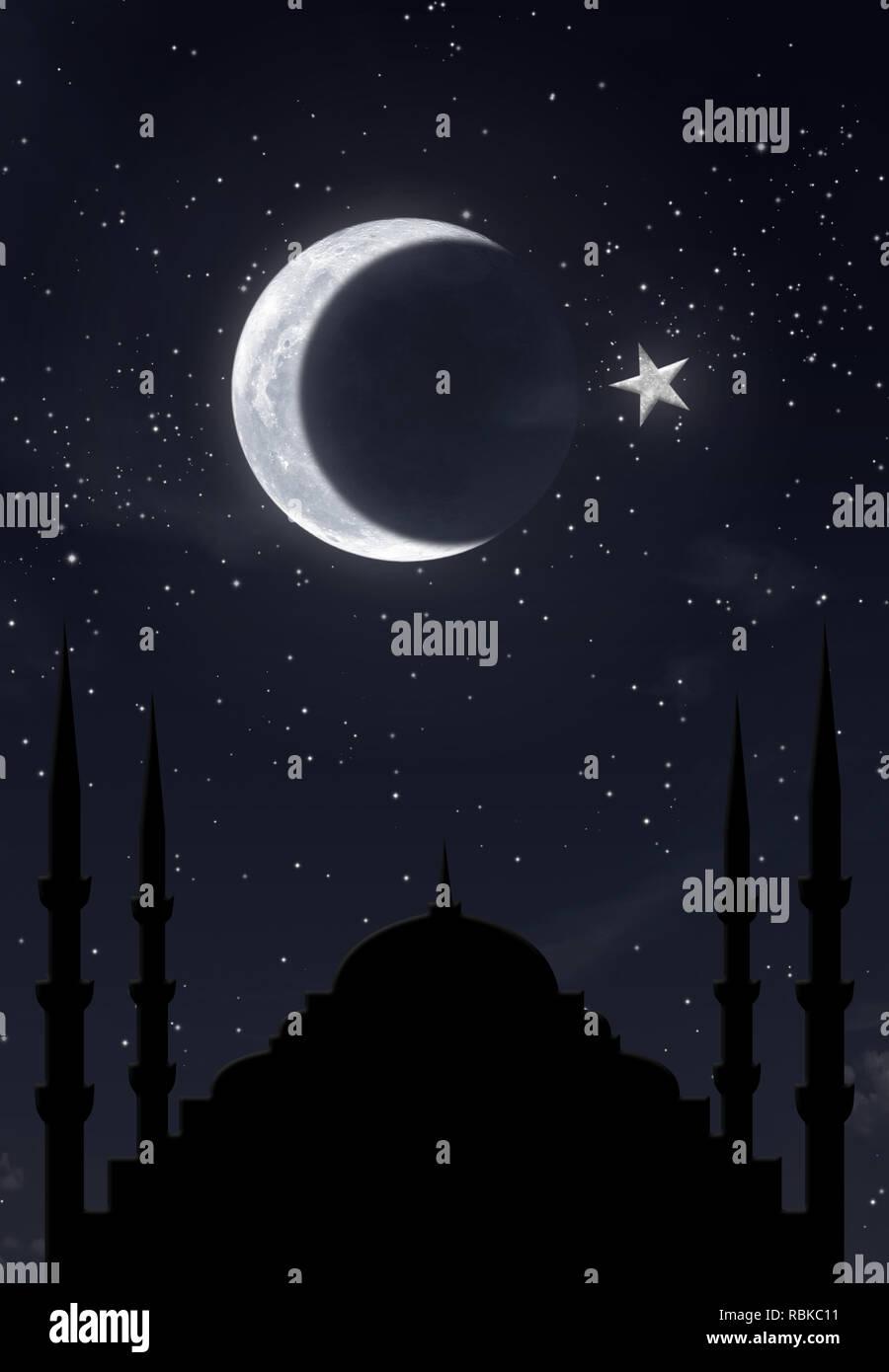 islamic symbol hilal over hagia sophia in night sky - Stock Image