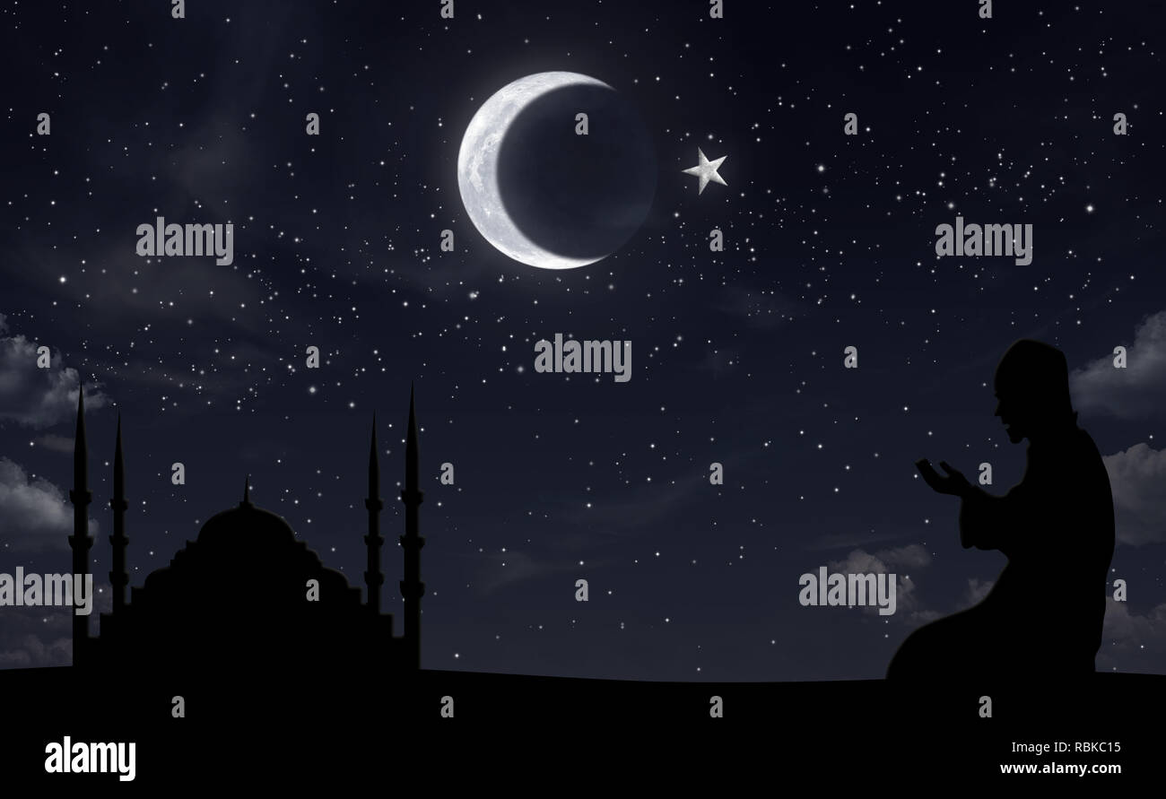 Praying muslim and mosque at night sky hilal half moon - Stock Image