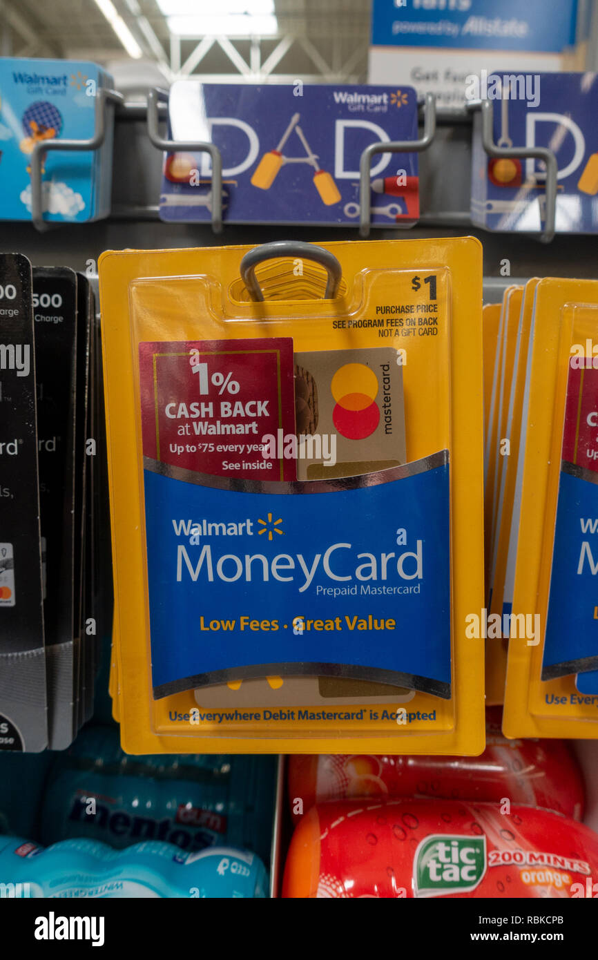A prepaid Mastercard on sale in a Walmart superstore in